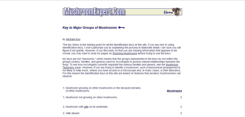 Ultimate List of Dichotomous Keys - Fungiflora